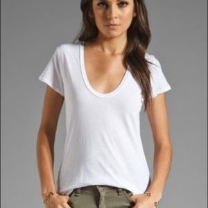 NEW James Perse Deep Scoop Neck T-Shirt White (2)